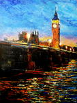 George Ganciu Stories On Canvas - Night Fall Over Westminster