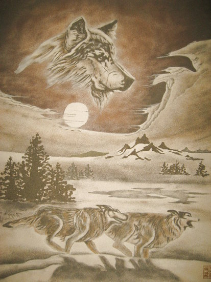 Sand Painting- (three wolf) hand crafted by Sandpainting | Wall Art | ArtsDot.com