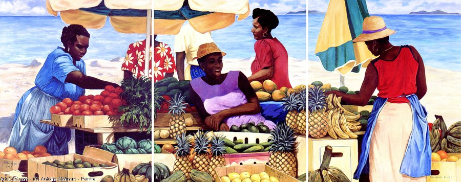 Order Textured Print | the caribbean - triptych - complete by Antoine Molinero - Peintre | ArtsDot.com