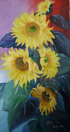 sunflowers solo by Zhen Lianxiu | Print On Canvas | ArtsDot.com