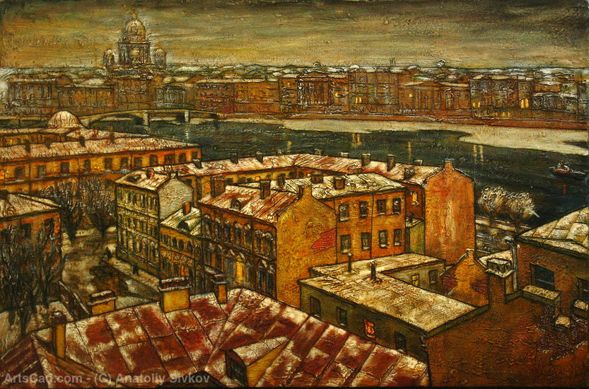 Neva Saint-Petersburg painting— sobre tela by Anatoliy Sivkov | Print On Canvas | ArtsDot.com