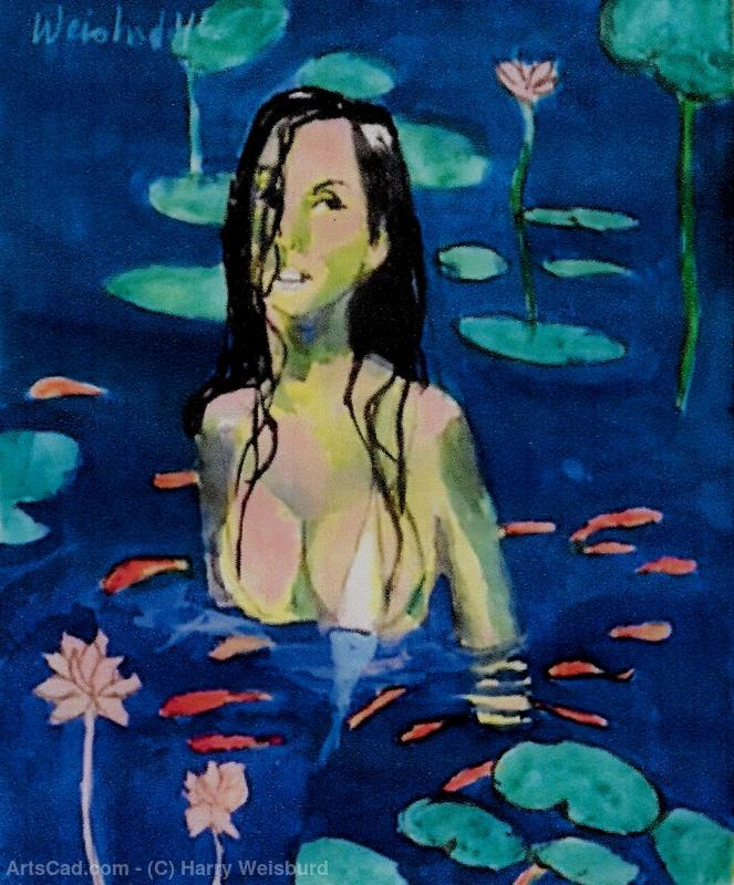 Woman With Lotus Flowers and Coi Fish   Watercolor by Harry Weisburd