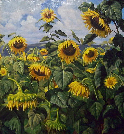 Sunflowers painting— sobre tela by Yuri Kliapko | Wall Art | ArtsDot.com