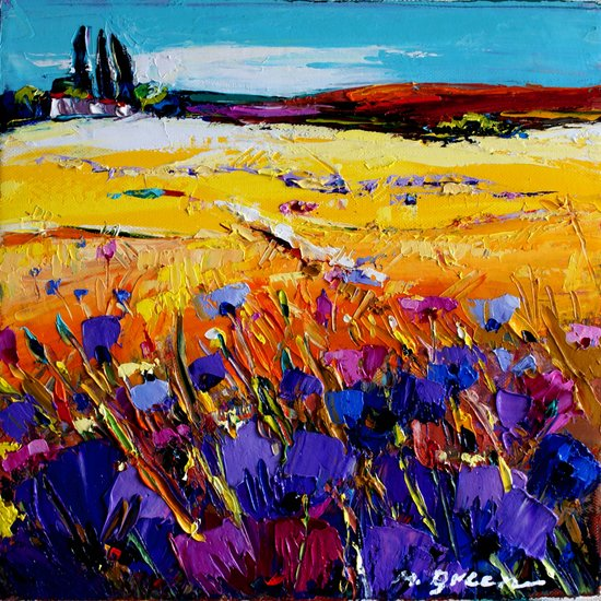 Landscape With Blue Flowers by @Nexelart | Giclee On Canvas | ArtsDot.com