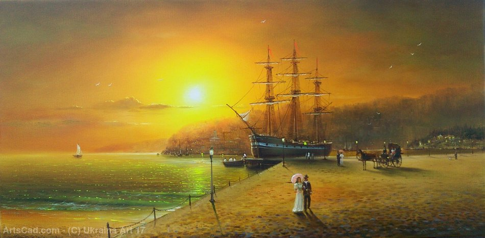 At the dock painting— sobre tela by Ukraina Art 17 | Print On Canvas Ukraina Art 17 | ArtsDot.com