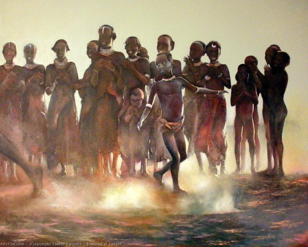 Order Fine Art Print | Dancing at has sunset huile sur canvas by Tomas Castaño | ArtsDot.com