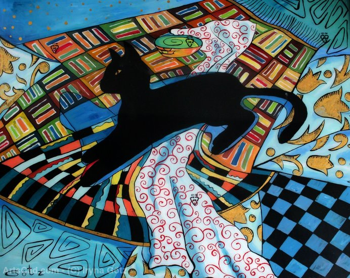 Order Poster On Canvas | black cat Abstract by Iryna Götz | ArtsDot.com
