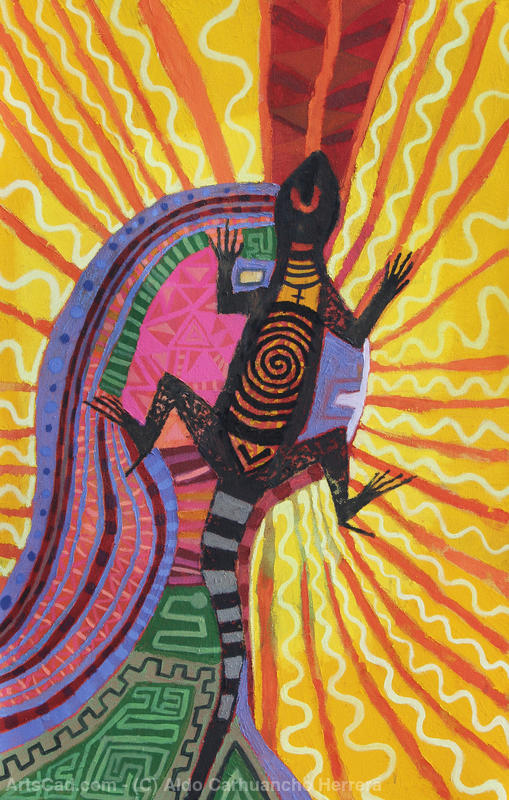 Reyna lizard abstract by Aldo Carhuancho Herrera | Print On Canvas | ArtsDot.com