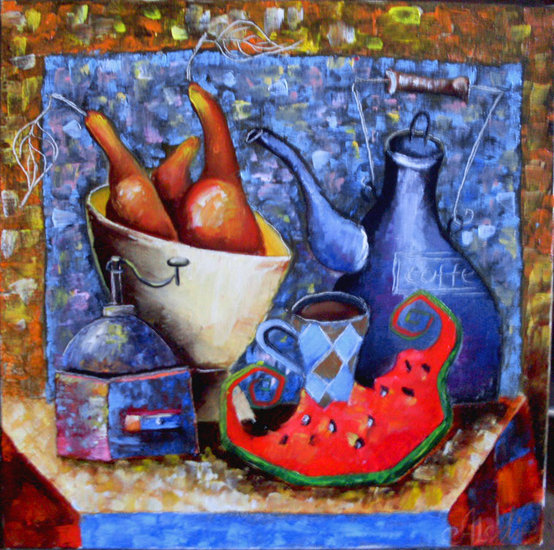 Still Life with Watermelon painting— sobre tela by Юлия Ионова | Canvas Print | ArtsDot.com