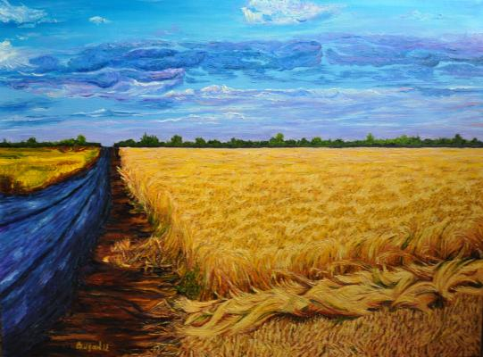 Road in a field painting— by Inna Skidan | Giclee On Canvas | ArtsDot.com