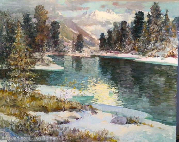 Buy Print On Canvas | Mountain Lake Oil on canvas by Roman Ilinyh | ArtsDot.com