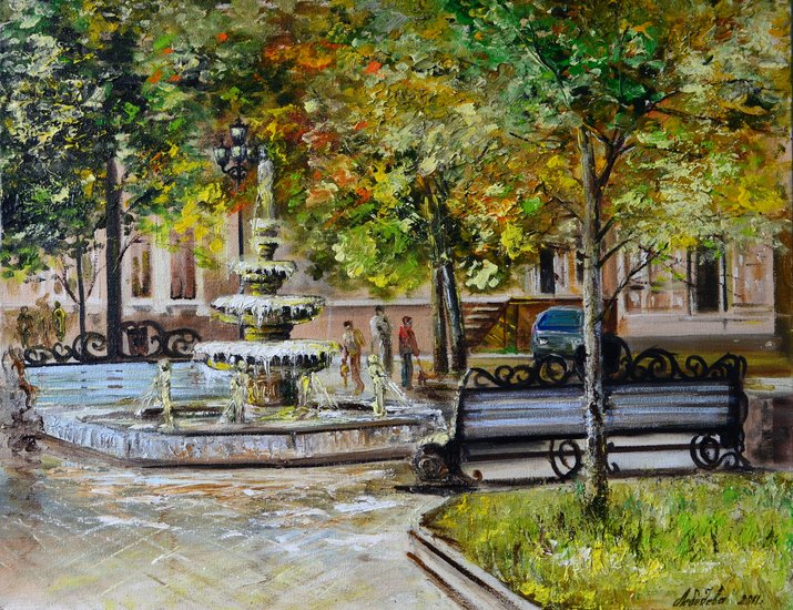 Fountain oil on canvas 40x60 300 Yea painting— by Студия Картин Арт-Кви-Лебедева | Fine Art Print Студия Картин Арт-Кви-Лебедева | ArtsDot.com