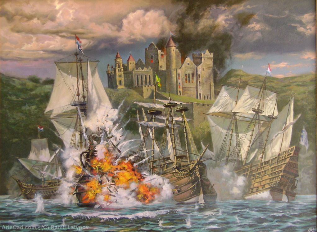 Order Fine Art Print | Battle near Yellow Castle painting— sobre tela by Ramil Latypov | ArtsDot.com
