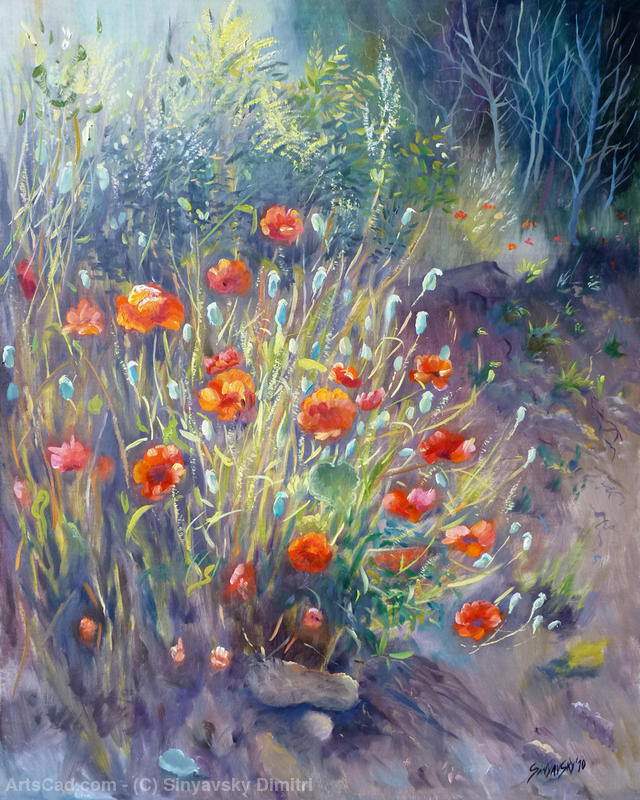 poppies oil by Sinyavsky Dimitri | Canvas Print | ArtsDot.com