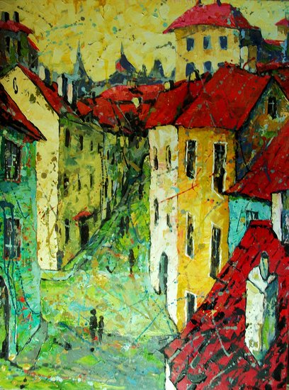 Old Czech Krumlov by Vladimir Domnicev | Giclee On Canvas | ArtsDot.com
