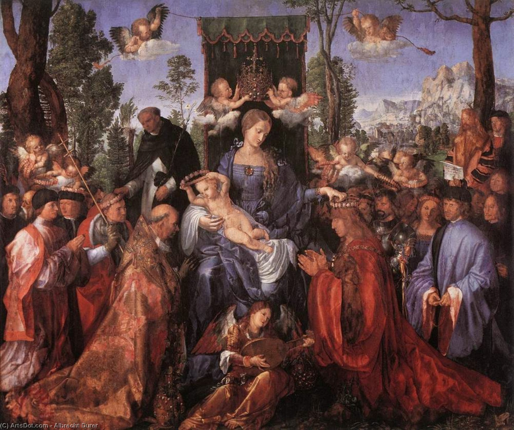 The Altarpiece of the Rose Garlands, 1506 by Albrecht Durer (1471-1528, Italy) | Museum Quality Copies Albrecht Durer | ArtsDot.com