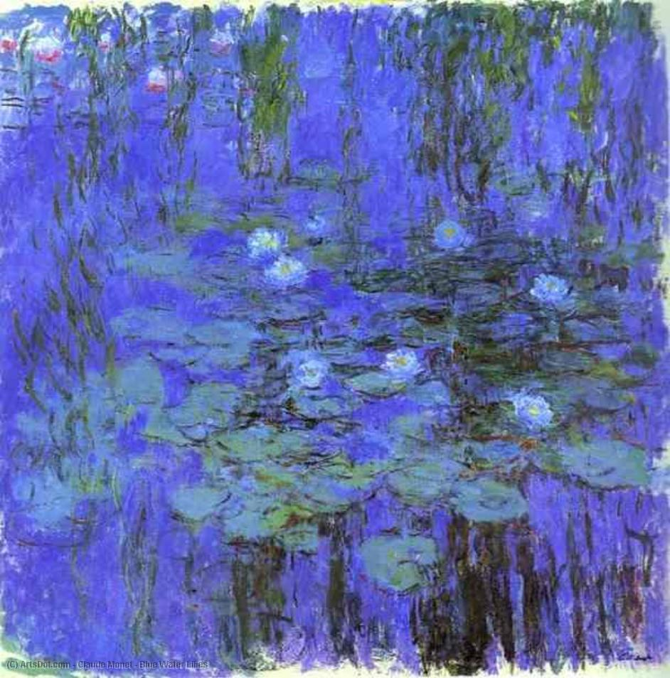 Order Paintings Reproductions | Blue Water Lilies by Claude Monet (1840-1926, France) | ArtsDot.com