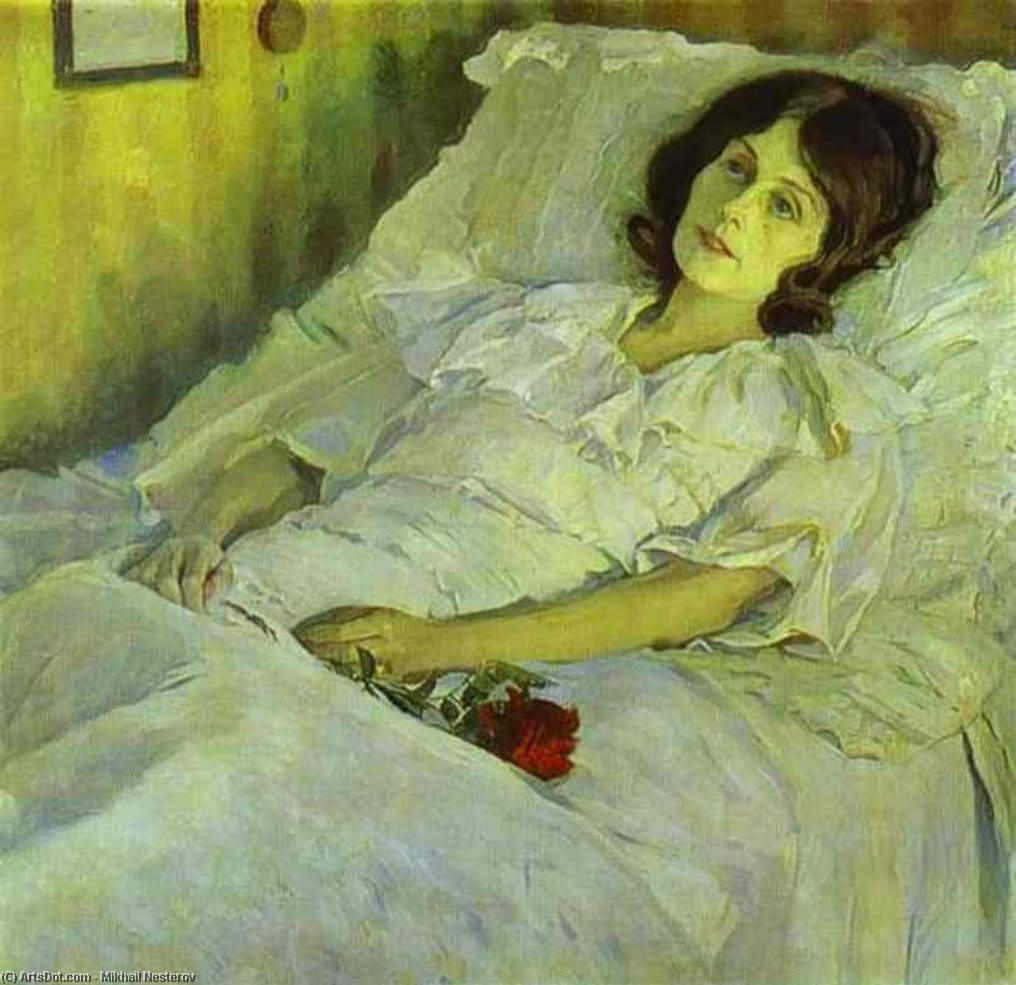 A Sick Girl, Oil On Canvas by Mikhail Nesterov (1862-1942, Russian Empire)