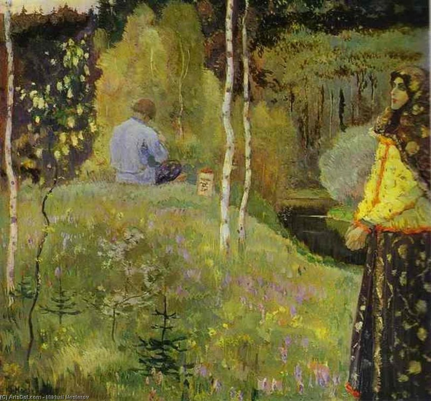 Reedpipe, Oil by Mikhail Nesterov (1862-1942, Russia)