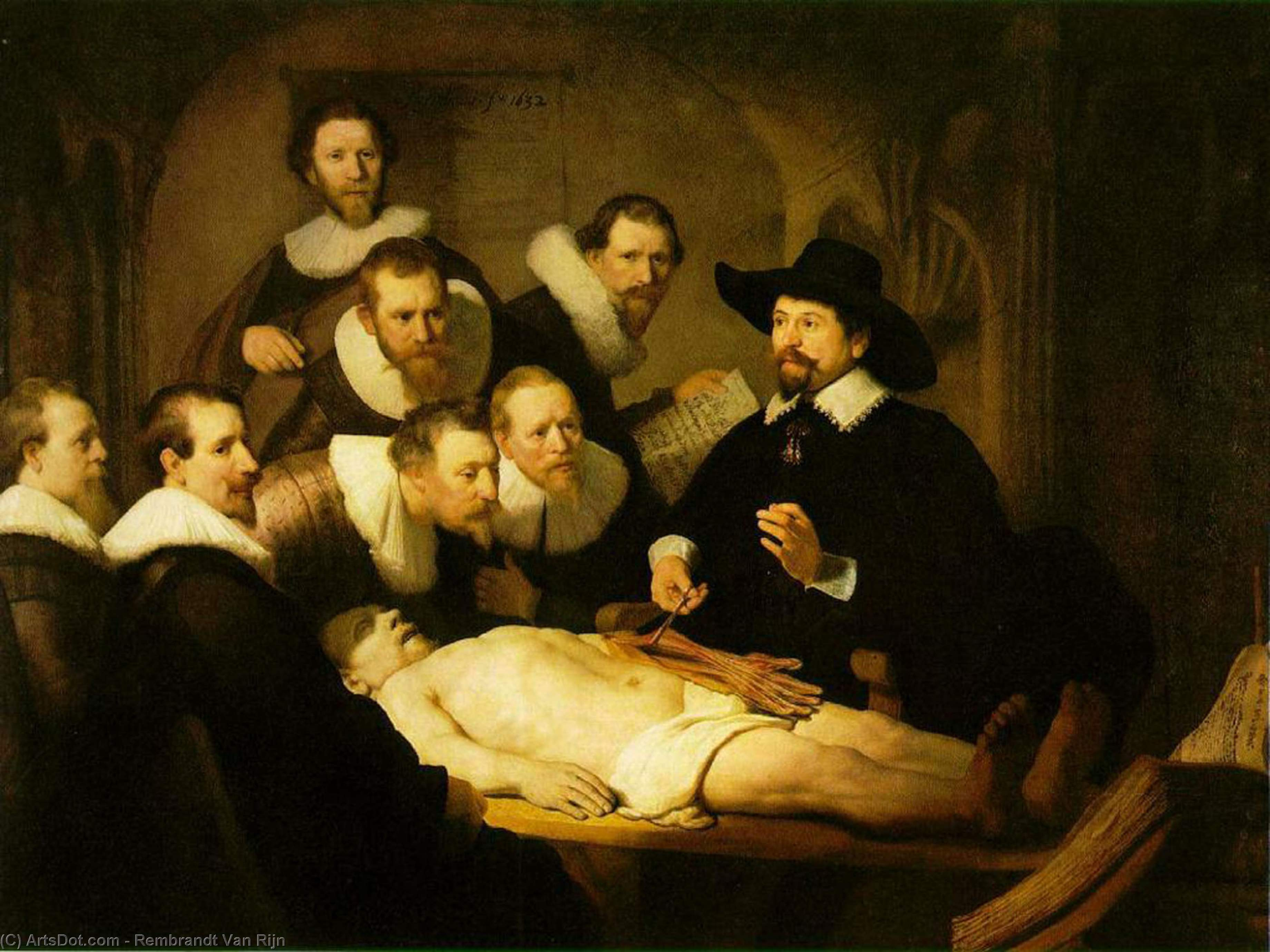 Order Paintings Reproductions | The Anatomy Lecture of Dr. Nicolaes Tulp [1632], 1632 by Rembrandt Van Rijn (1606-1669, Netherlands) | ArtsDot.com