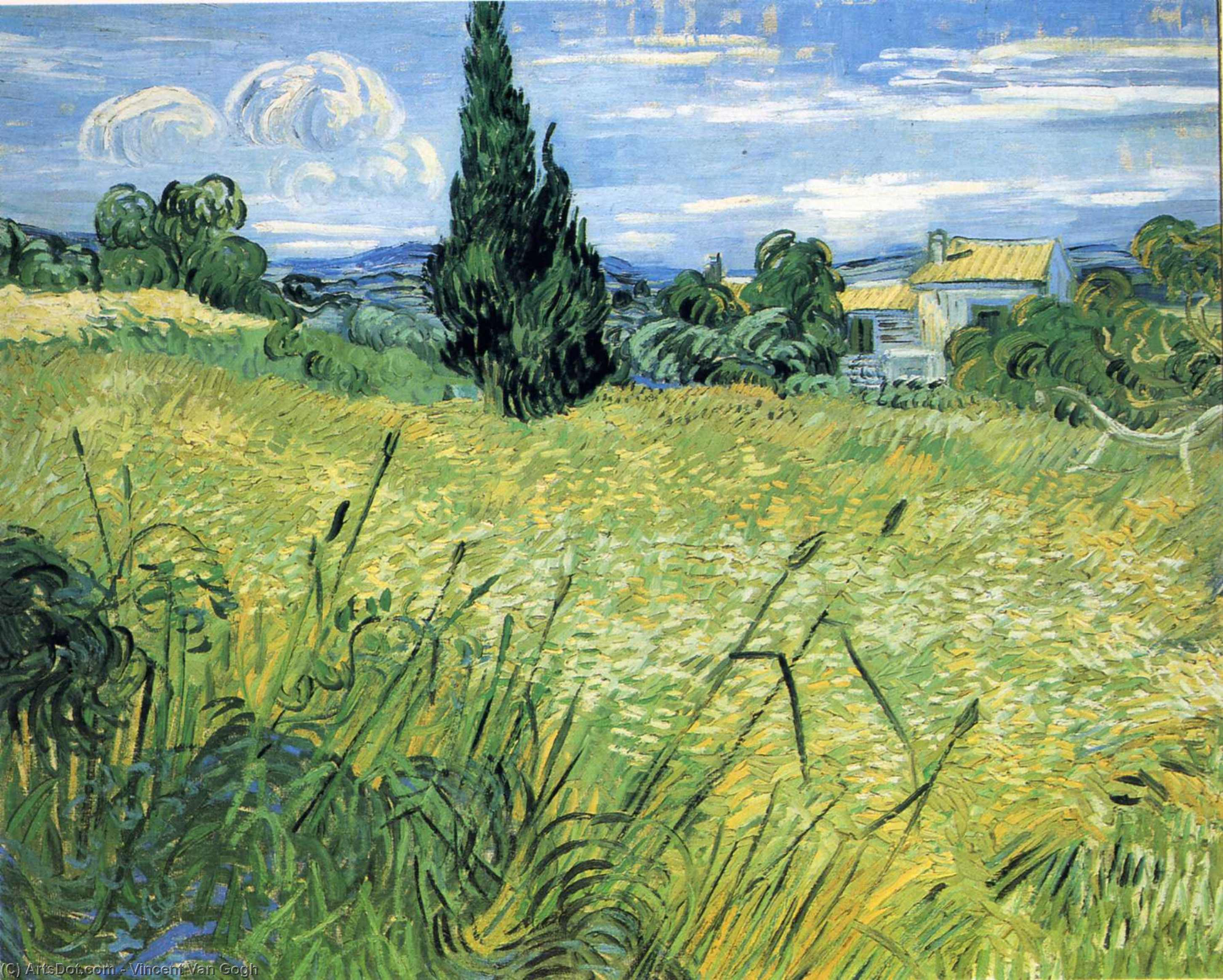 Green Wheat Field with Cypress, 1889 by Vincent Van Gogh (1853-1890, Netherlands) | Paintings Reproductions Vincent Van Gogh | ArtsDot.com