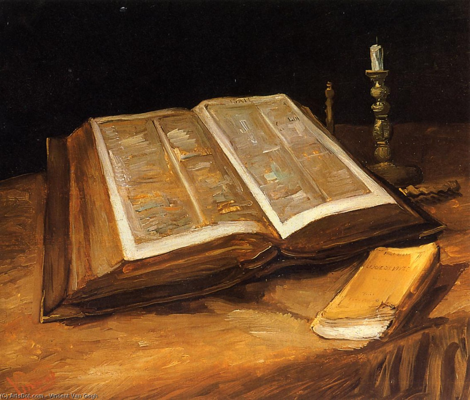 Still Life with Bible, 1885 by Vincent Van Gogh (1853-1890, Netherlands) | Museum Quality Copies Vincent Van Gogh | ArtsDot.com