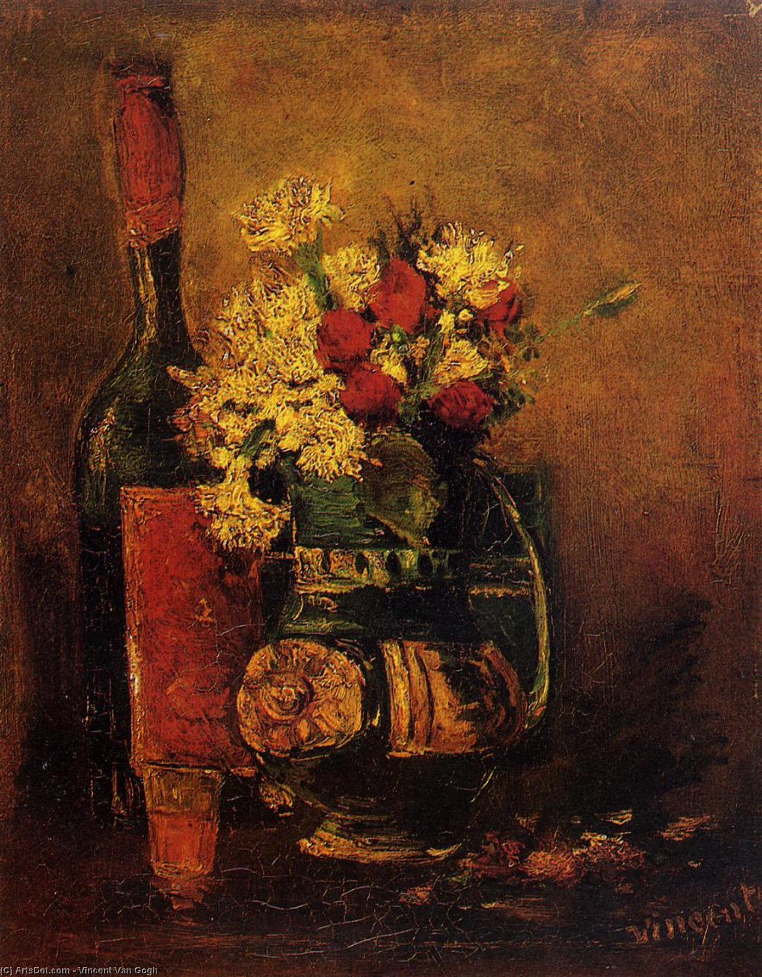 Order Museum Quality Copies | Vase with Carnations and Roses and a Bottle, 1886 by Vincent Van Gogh (1853-1890, Netherlands) | ArtsDot.com