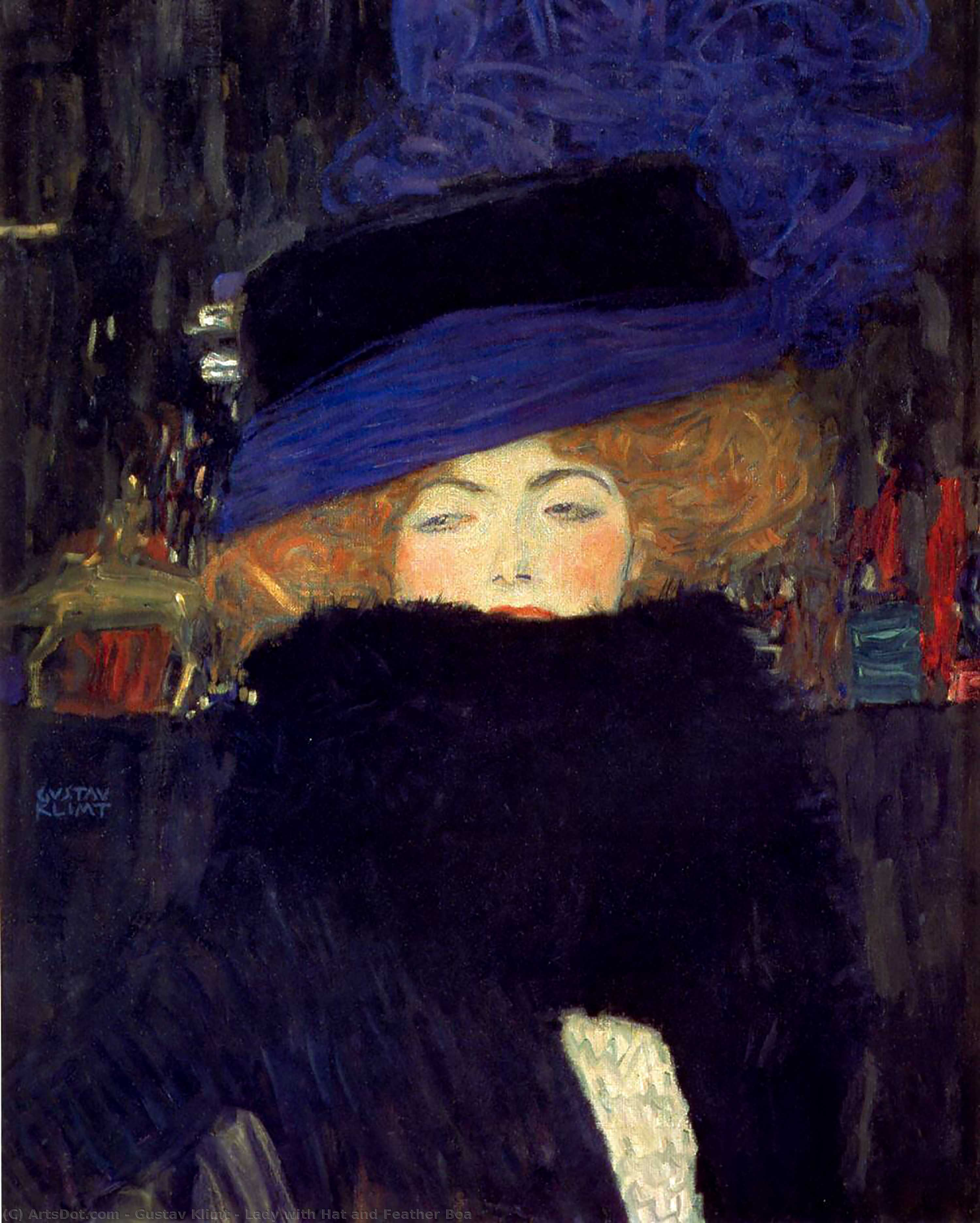 Order Museum Quality Copies | Lady with Hat and Feather Boa, 1909 by Gustav Klimt (1862-1918, Austria) | ArtsDot.com