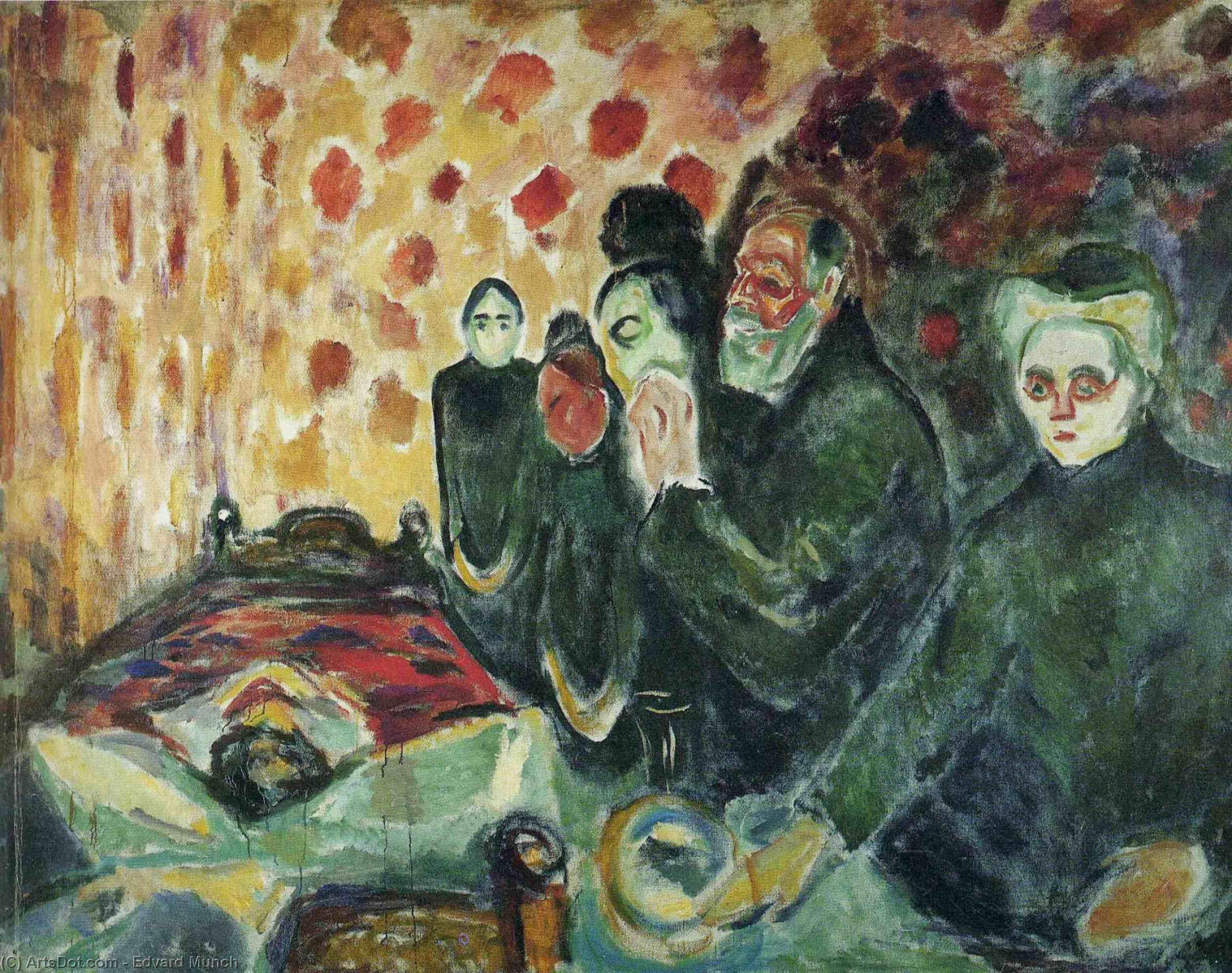 Order Oil Painting : Near the bed of death (fever), 1915 by Edvard Munch (1863-1944, Sweden) | ArtsDot.com