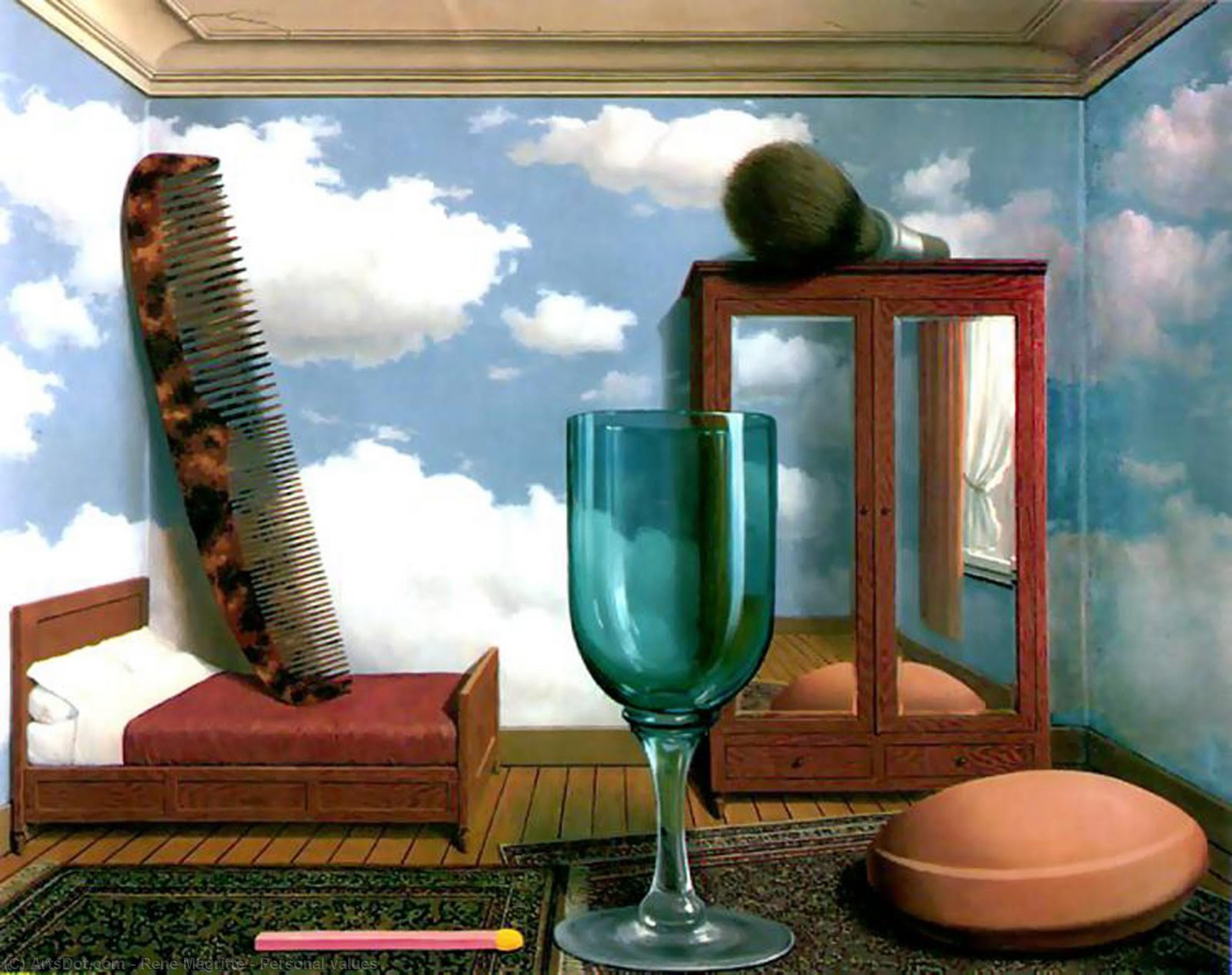 Personal values, 1952 by Rene Magritte (1898-1967, Belgium) | Painting Copy | ArtsDot.com