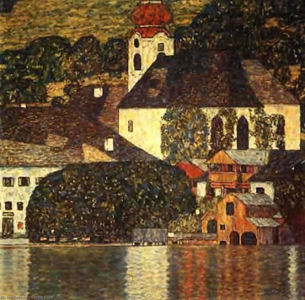 Church in Unterach on the Attersee, 1916 by Gustav Klimt (1862-1918, Austria) | Museum Quality Reproductions | ArtsDot.com