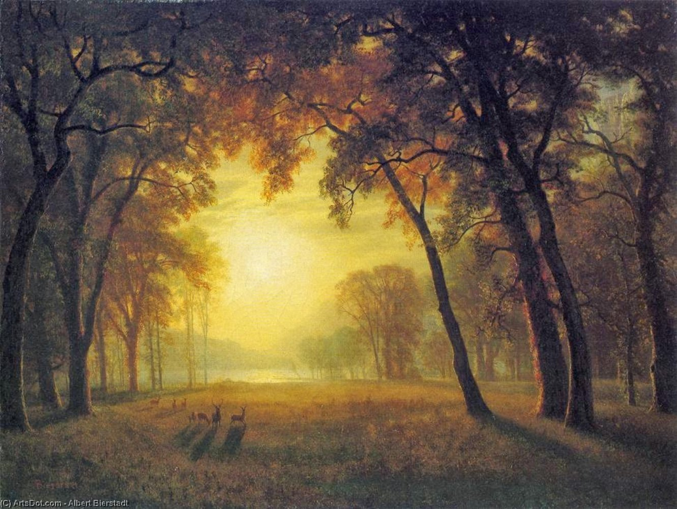 Deer in a Clearing by Albert Bierstadt (1830-1902, Germany) | Painting Copy | ArtsDot.com