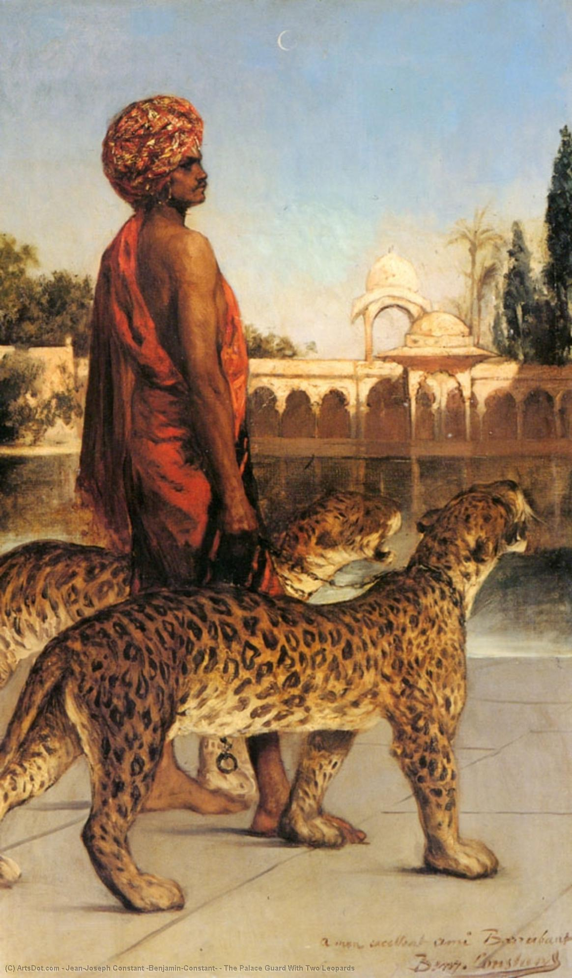 The Palace Guard With Two Leopards by Jean-Joseph Constant (Benjamin-Constant) (1845-1902, France) | Paintings Reproductions Jean-Joseph Constant (Benjamin-Constant) | ArtsDot.com