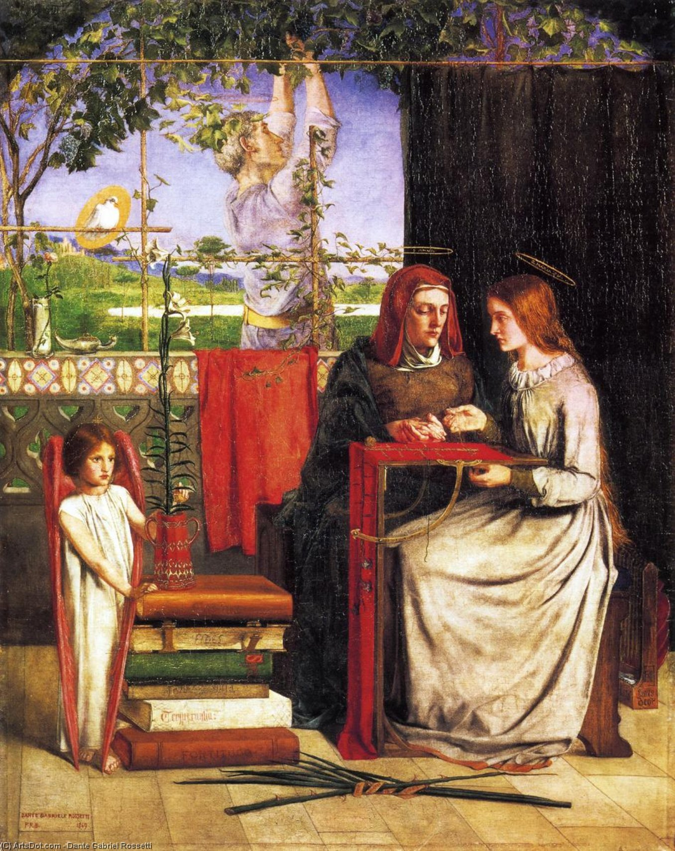 The Girlhood of Mary Virgin, Oil On Canvas by Dante Gabriel Rossetti (1828-1882, United Kingdom)