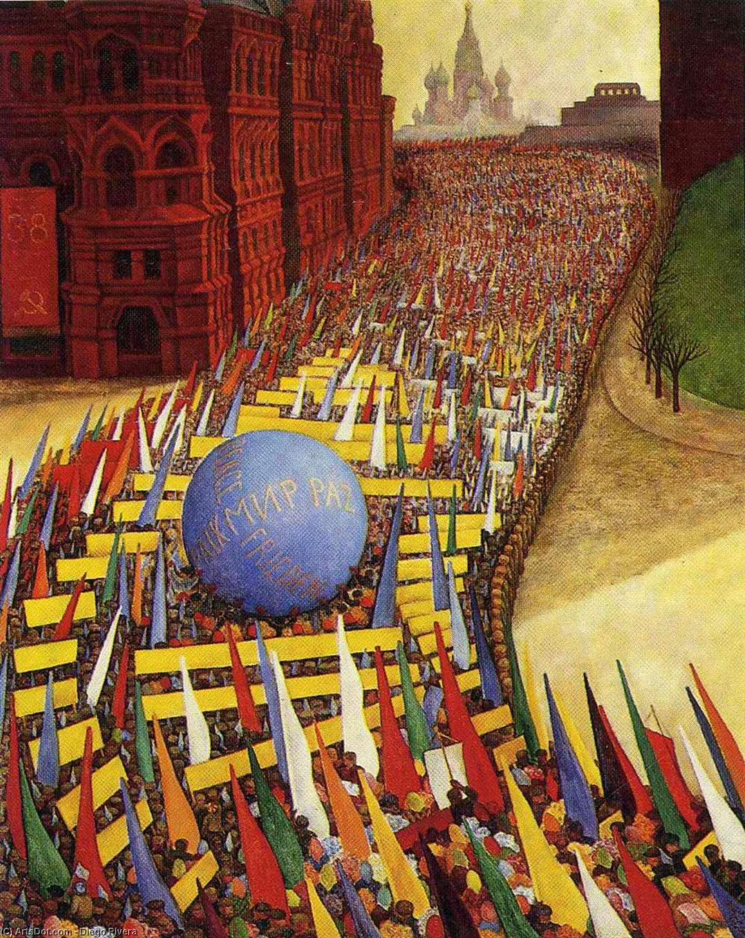 May Day Procession in Moscow, Oil On Canvas by Diego Rivera (1886-1957, Mexico)