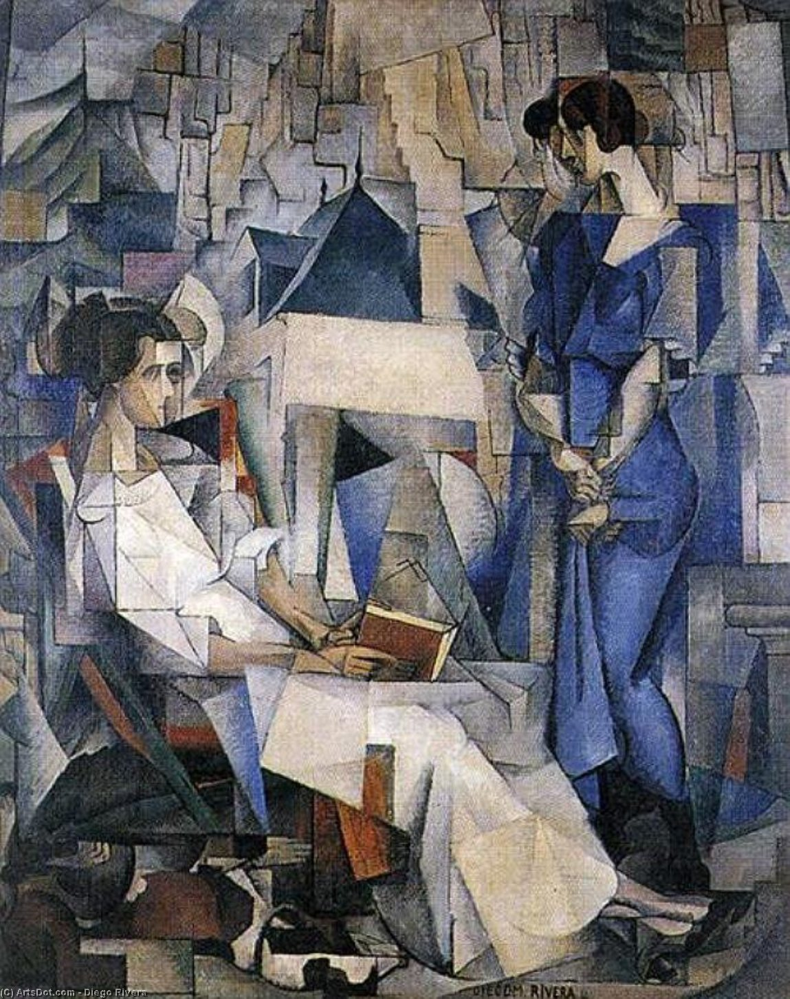 Portrait of Two Women, Oil On Canvas by Diego Rivera (1886-1957, Mexico)
