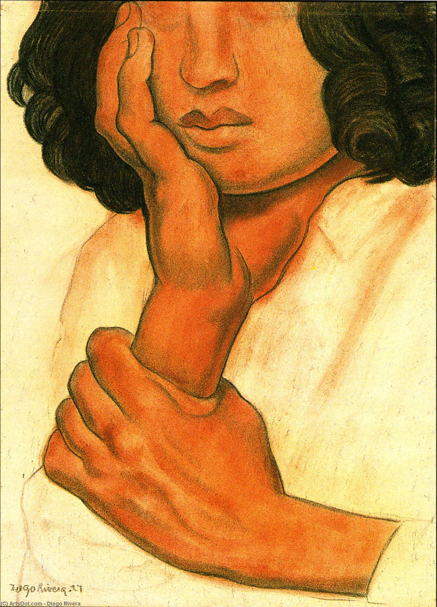 Study of Hands, Oil by Diego Rivera (1886-1957, Mexico)