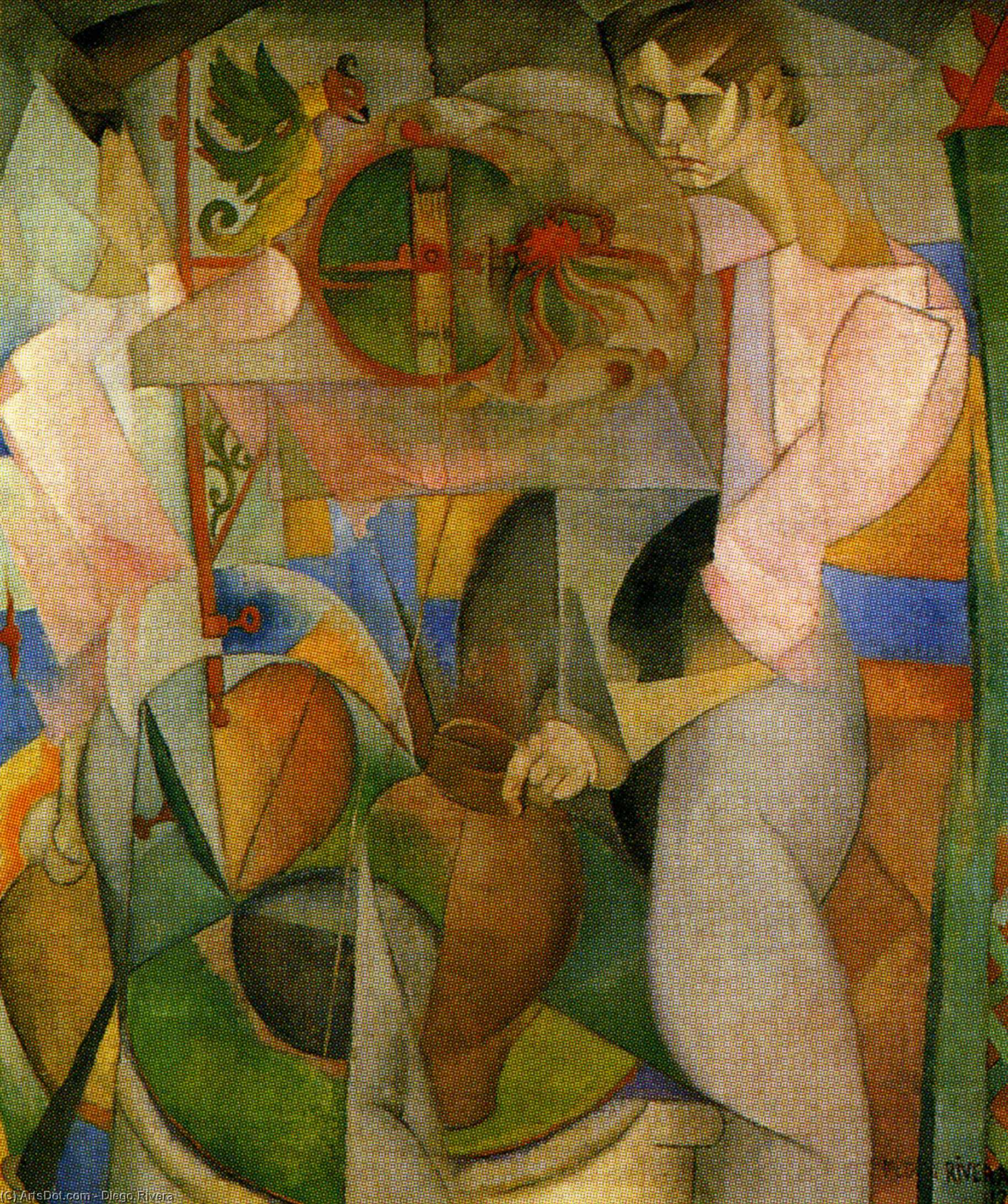 Woman at a Well, Oil On Canvas by Diego Rivera (1886-1957, Mexico)