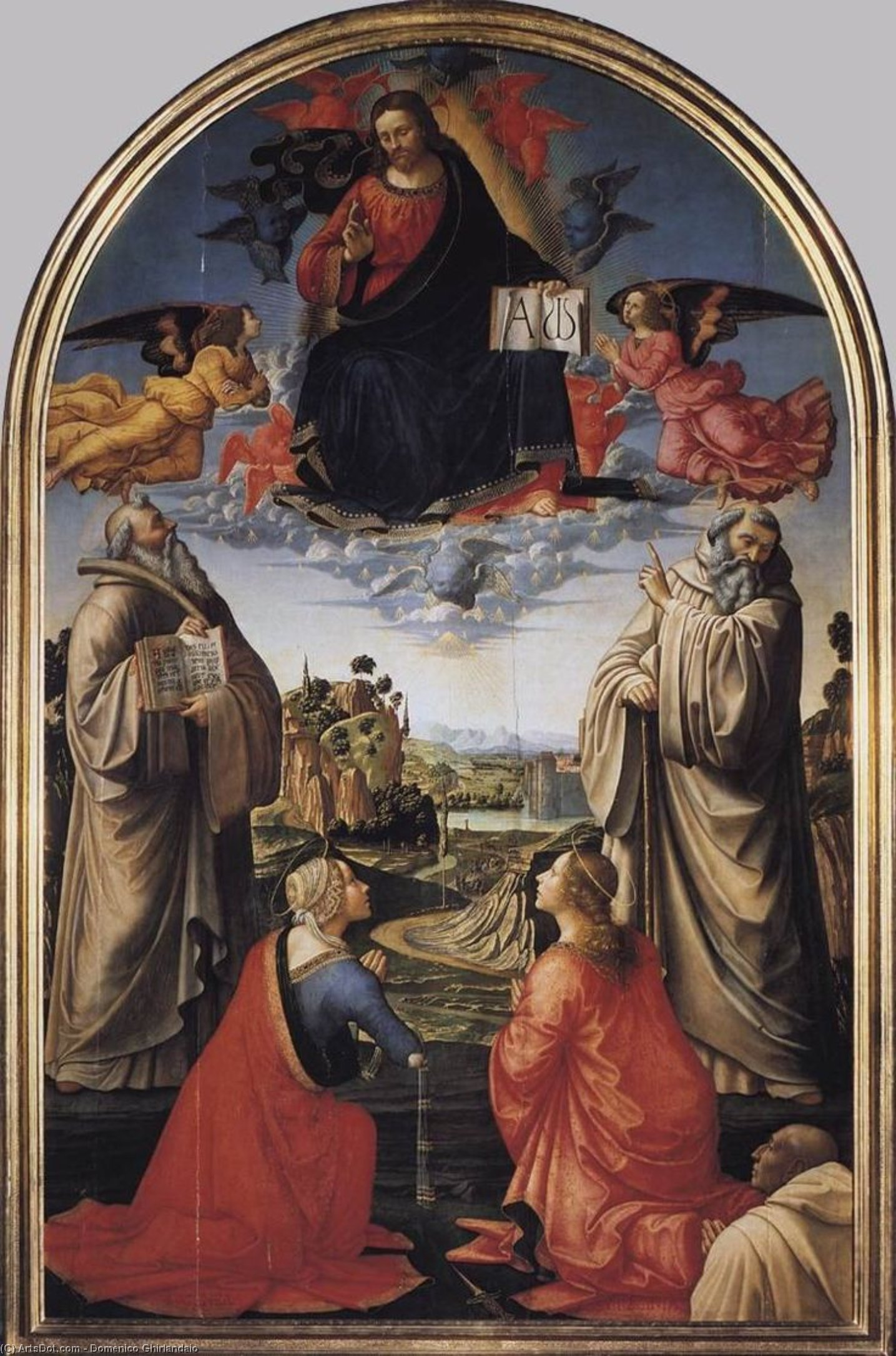 Christ in Heaven with Four Saints and a Donor, Tempera by Domenico Ghirlandaio (1449-1494, Italy)