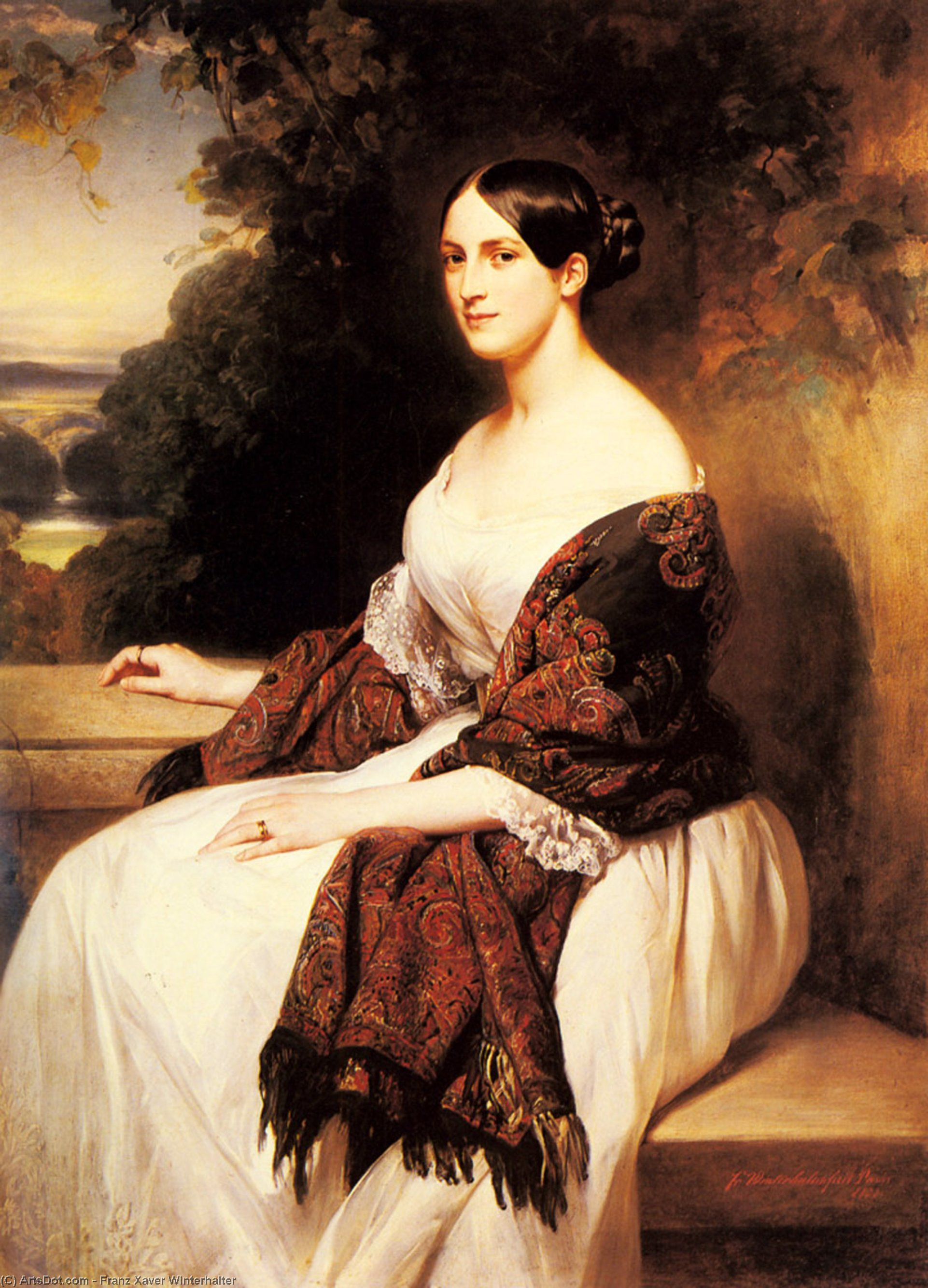 Portrait of Madame Ackerman, the wife of the Chief Finance Minister of King Louis Philippe by Franz Xaver Winterhalter (1805-1873, Germany) | Oil Painting | ArtsDot.com