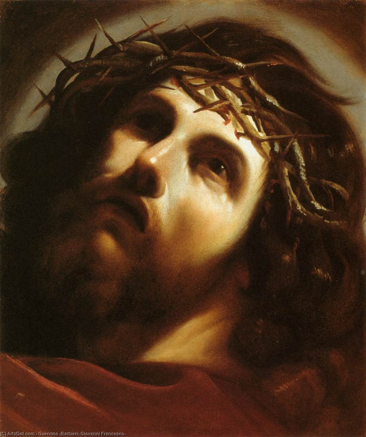 Christ Crowned with Thorns, Oil by Guercino (Barbieri, Giovanni Francesco) (1591-1666, Italy)