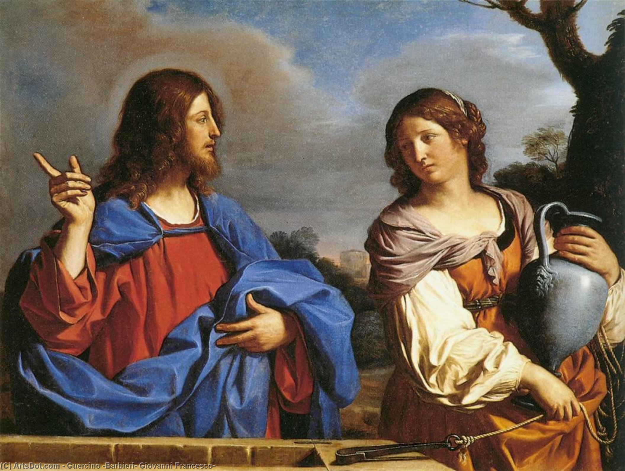 Jesus and the Samaritan Woman at the Well, Oil by Guercino (Barbieri, Giovanni Francesco) (1591-1666, Italy)
