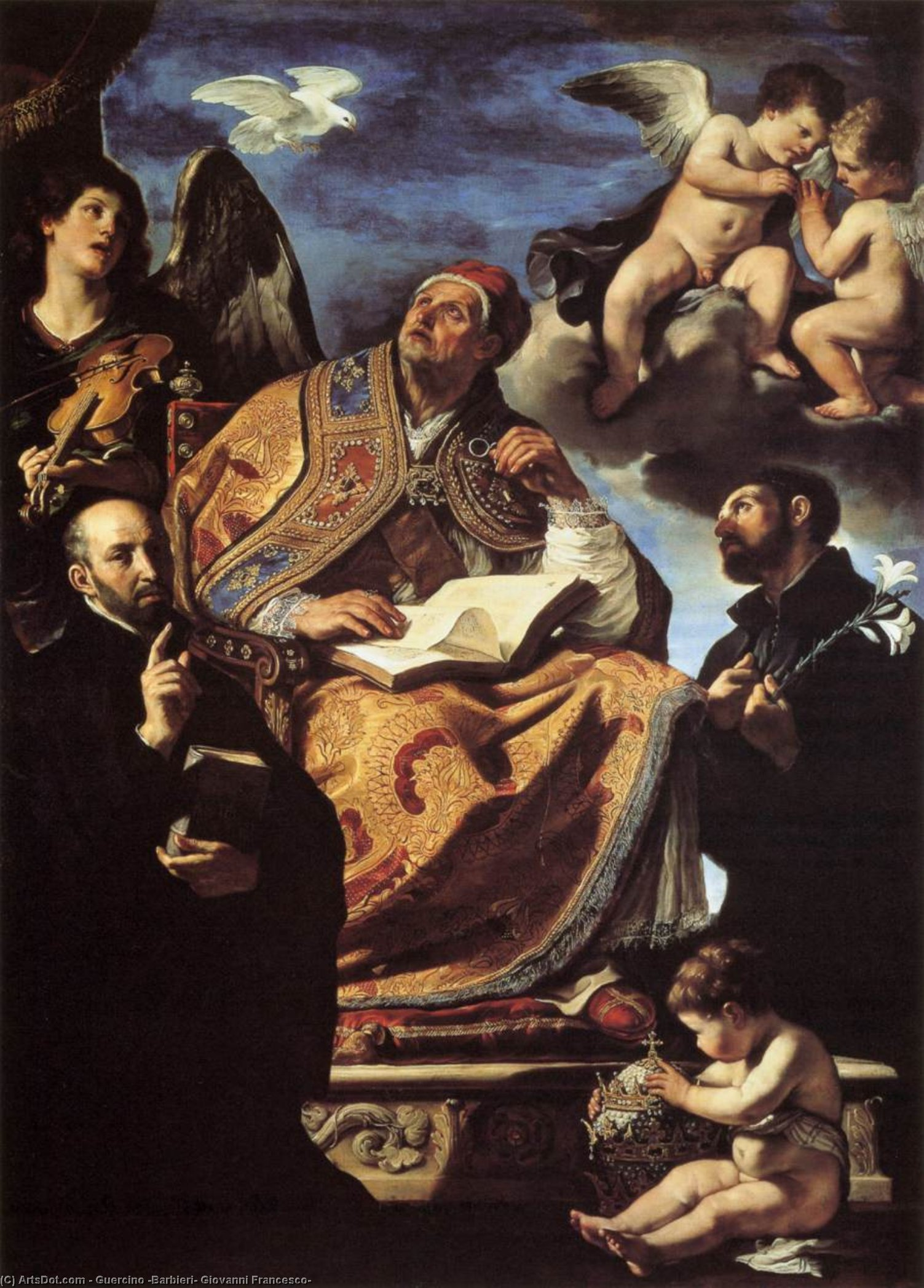 St Gregory the Great with Sts Ignatius and Francis Xavier, Oil by Guercino (Barbieri, Giovanni Francesco) (1591-1666, Italy)