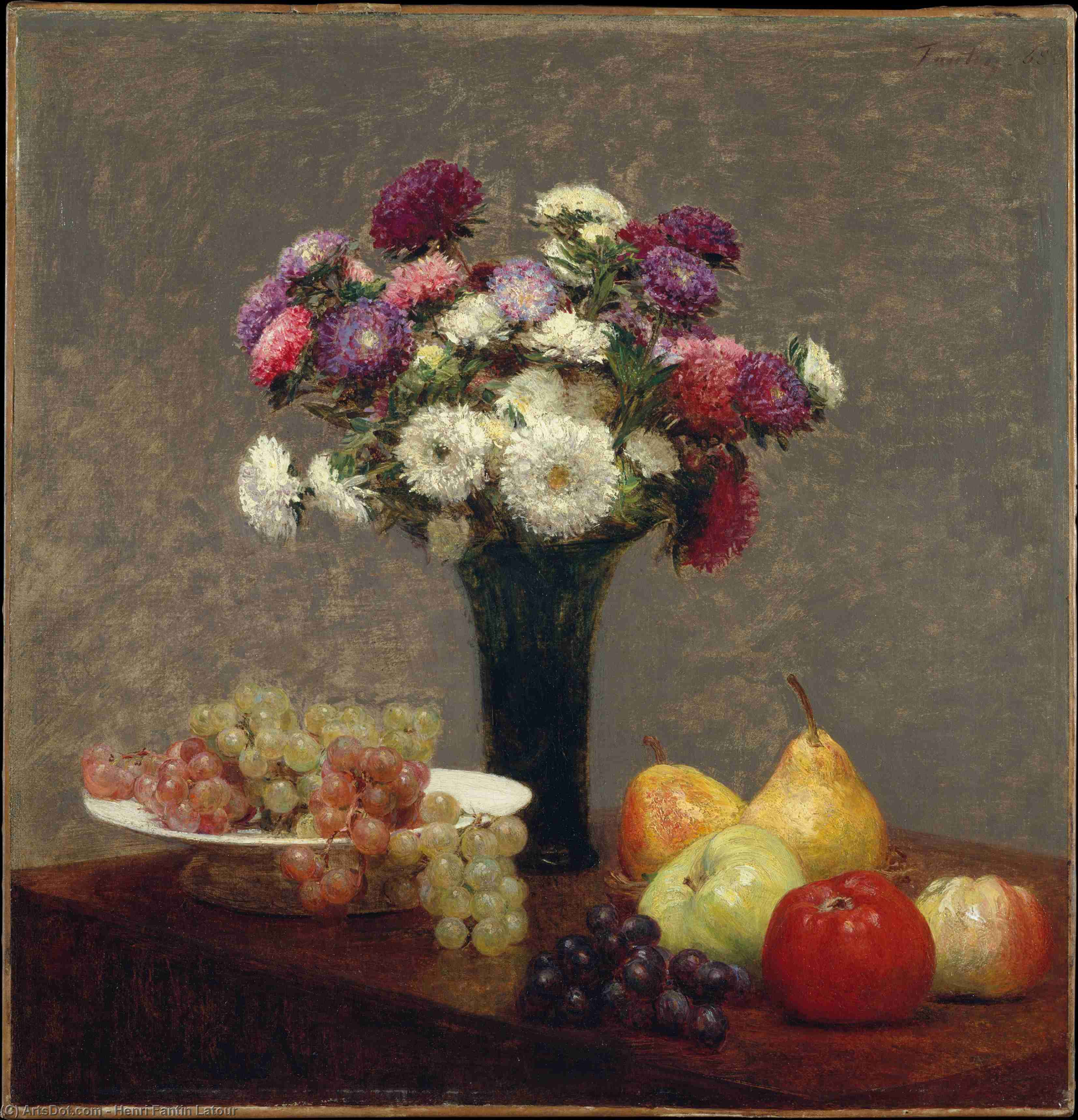 Asters and Fruit on a Table, Oil by Henri Fantin Latour (1836-1904, France)