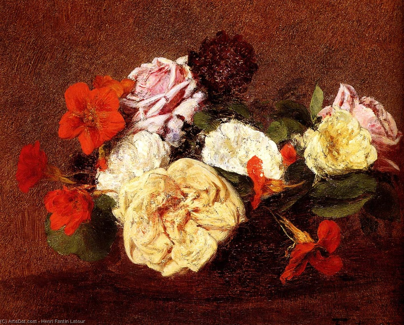 Bouquet Of Roses And Nasturtiums, Oil by Henri Fantin Latour (1836-1904, France)