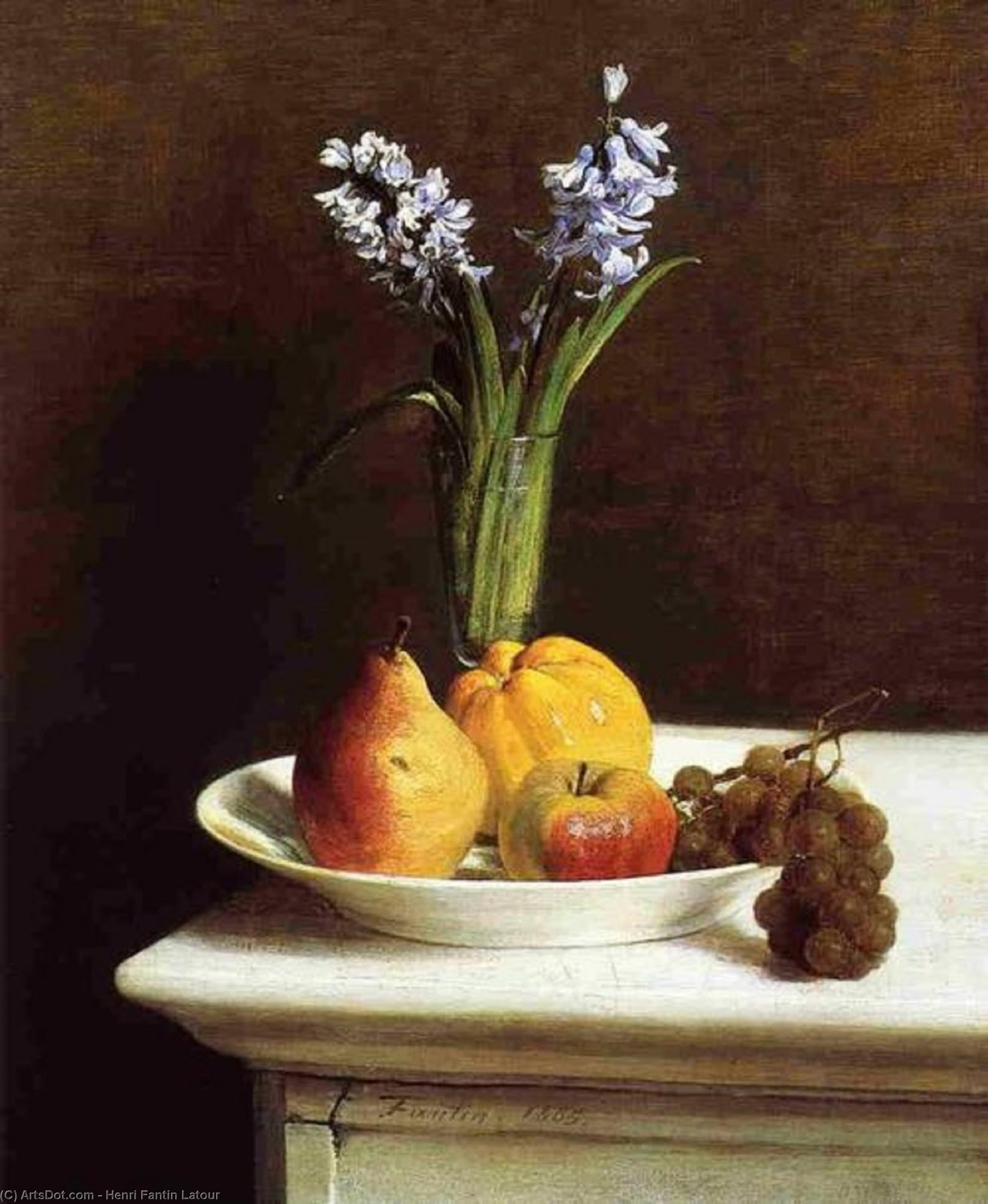 Still Life. Hyacinths and Fruit, Oil by Henri Fantin Latour (1836-1904, France)