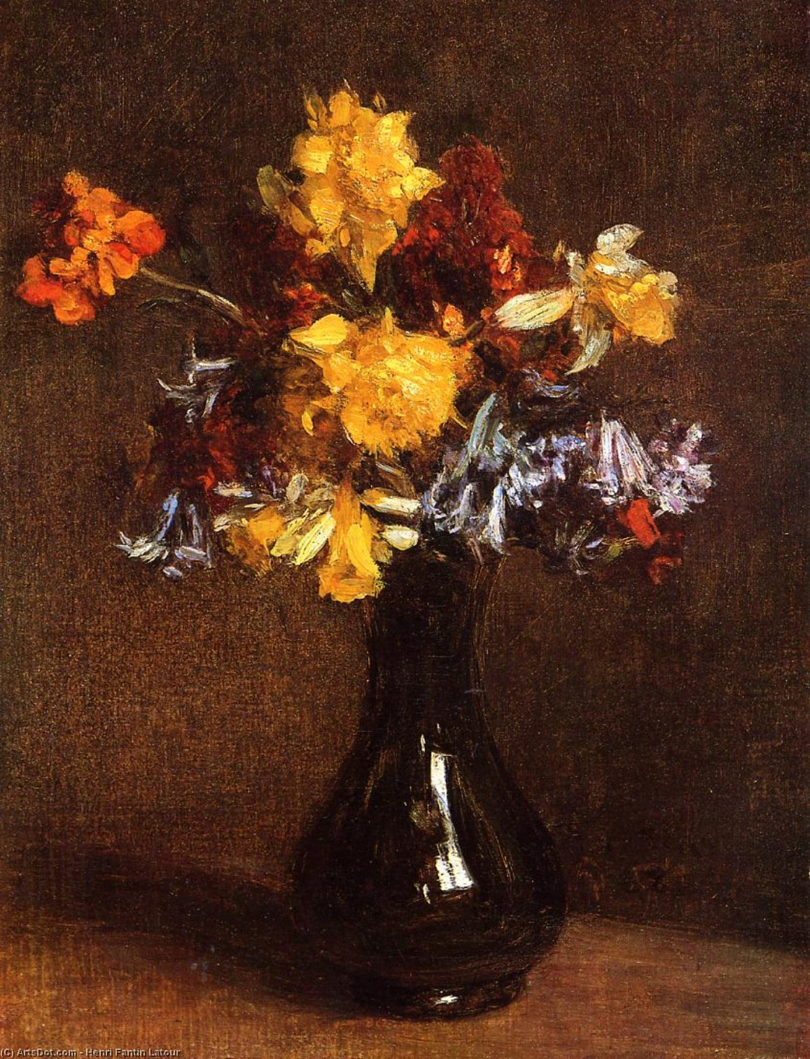 Vase of Flowers, Oil by Henri Fantin Latour (1836-1904, France)