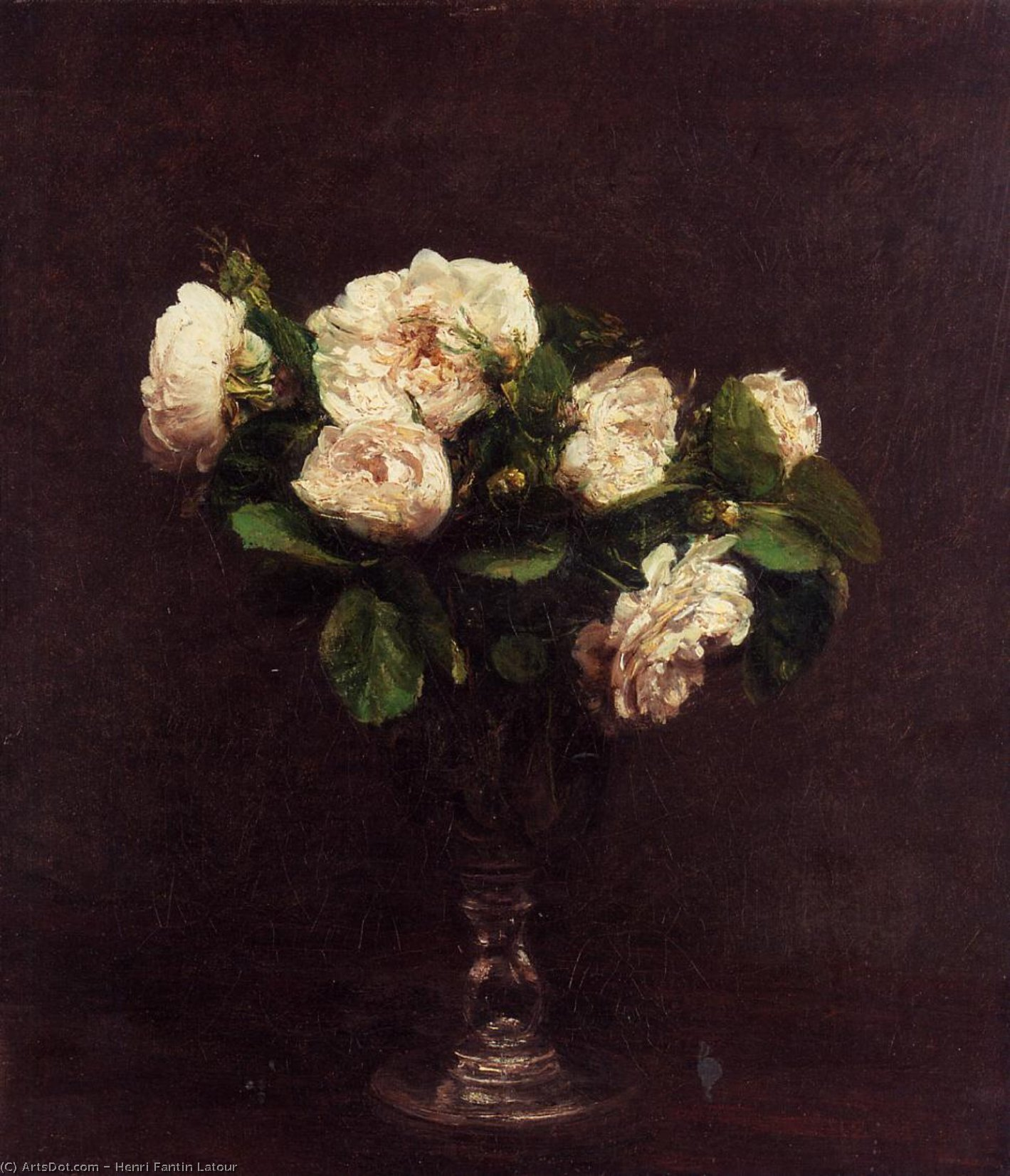 White Roses, Oil by Henri Fantin Latour (1836-1904, France)