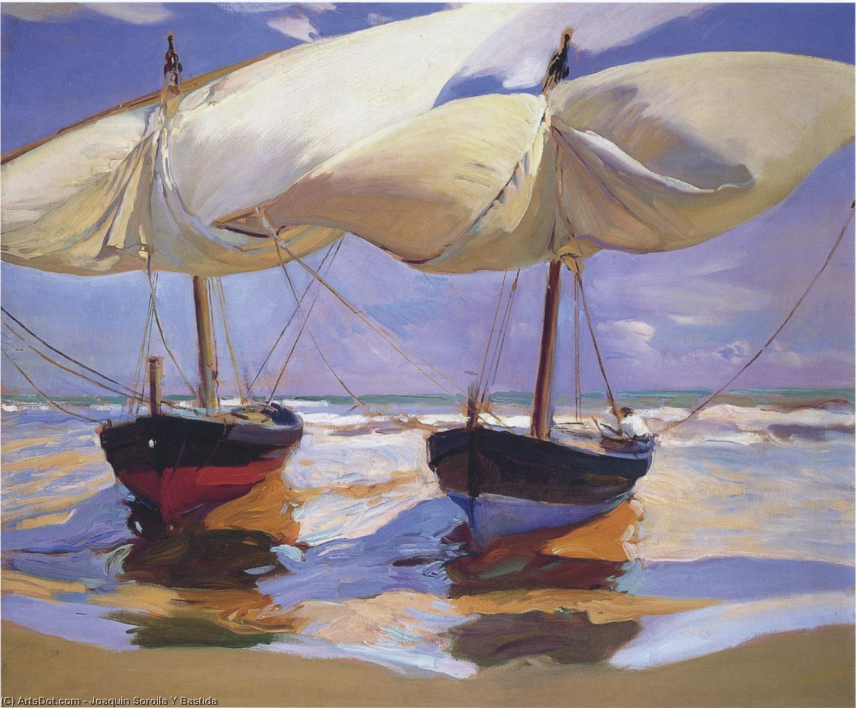 Beached Boats, Oil by Joaquin Sorolla Y Bastida (1863-1923, Spain)