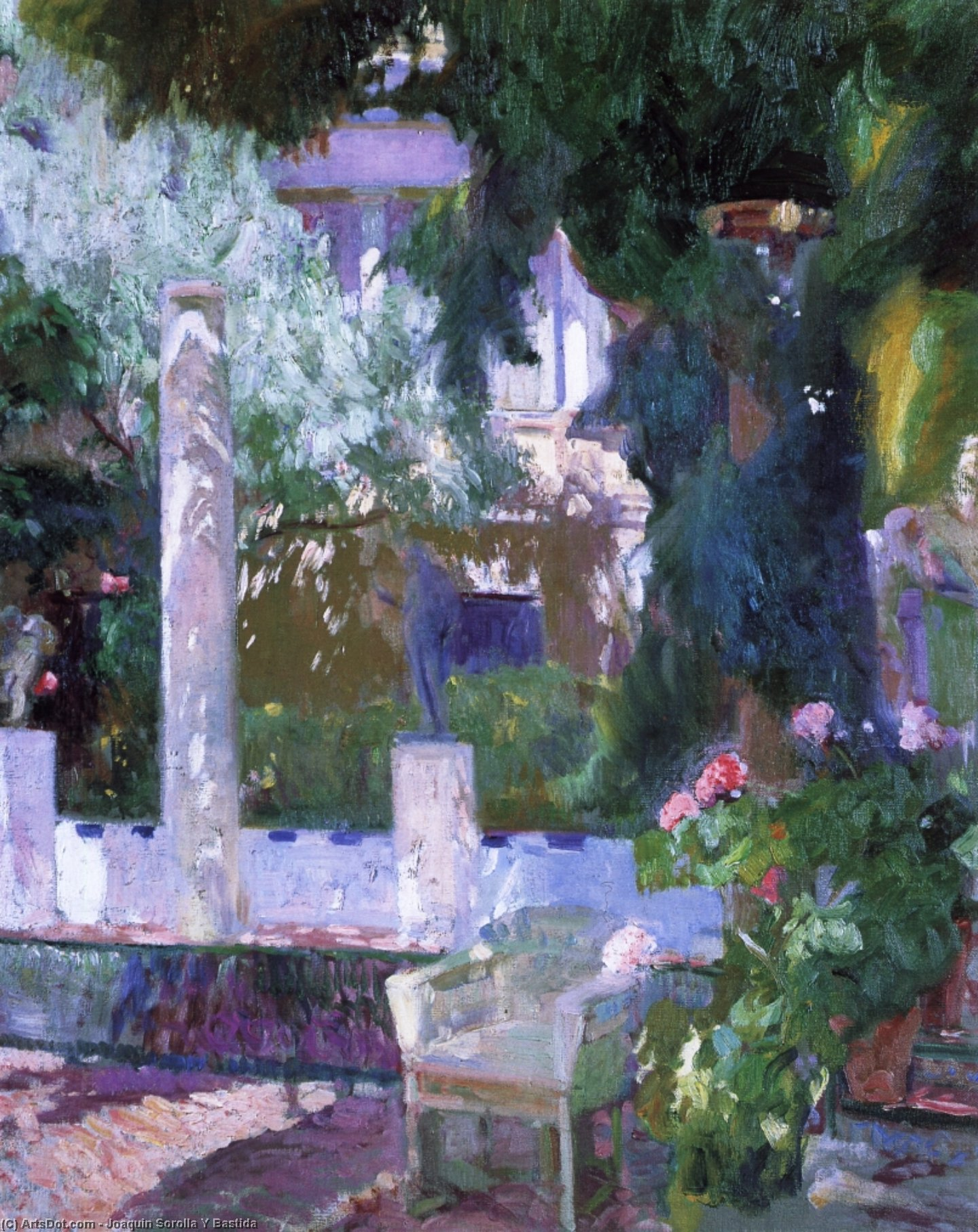 Rose Bush at the Sorolla House, Oil On Canvas by Joaquin Sorolla Y Bastida (1863-1923, Spain)